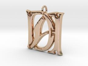 Monogram Initials DA Pendant  in 14k Rose Gold