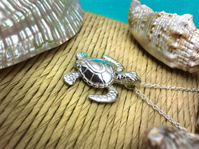 Baby Turtle Heart Pendant in Polished Silver