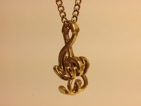 """Treble Electric Guitar"" Perspective Pendant in Polished Brass"