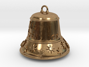 Merry Christmas Bell - Working Ringer Interlocking in Interlocking Raw Brass