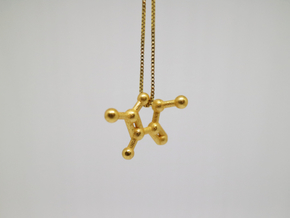 Furaneol (Strawberry Aroma) Molecule Necklace in Polished Gold Steel