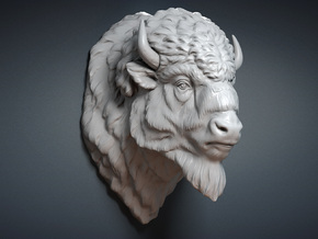 Bison Head. 13cm in White Strong & Flexible