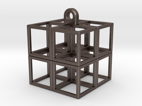 CubeCube in Polished Bronzed Silver Steel