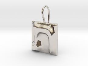 22 Tav Earring in Rhodium Plated Brass