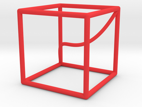 A space curve in a cube in Red Processed Versatile Plastic