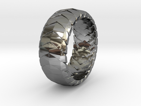 V RING 6  in Fine Detail Polished Silver: 10 / 61.5