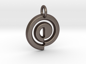 Swirl Keychain in Polished Bronzed Silver Steel