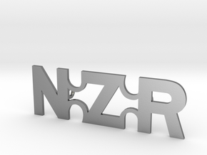 NZR Straight Badge in Polished Silver