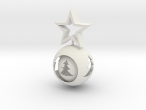 Christmas ball With big Star in White Natural Versatile Plastic