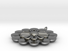 Minoan Flower Pendent 2 Model A in Polished Silver