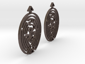 Earring Model F Pair in Polished Bronzed Silver Steel