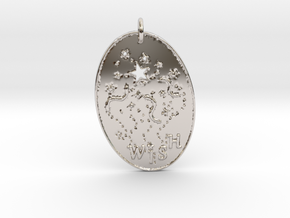 Shooting Stars Wish 1 Pendant by Gabrielle in Rhodium Plated Brass
