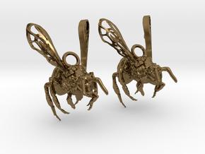 Western Honey Bee Earrings in Polished Bronze