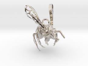 Western Honey Bee Pendant in Rhodium Plated Brass