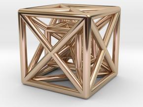 Hypercube Pendant in 14k Rose Gold Plated Brass
