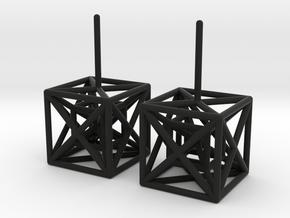 HyperCube Stud Earrings in Black Strong & Flexible