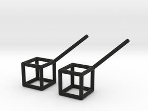 Cube Stud Earrings in Black Natural Versatile Plastic