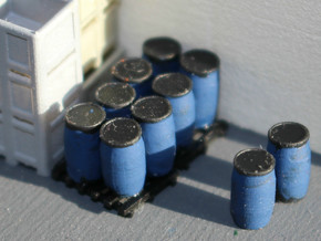 N Scale Blue Barrels 12pc in Smooth Fine Detail Plastic
