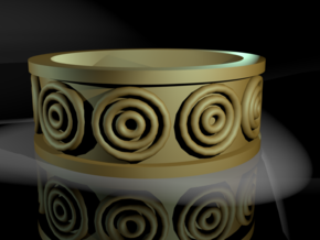 A Ring with Circles on It in Polished Bronzed Silver Steel: 5 / 49