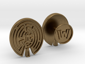 WestWorld Maze Cufflinks in Natural Bronze