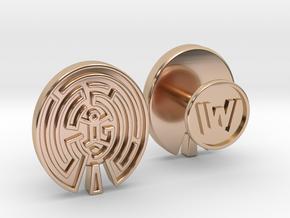 WestWorld Maze Cufflinks in 14k Rose Gold Plated Brass