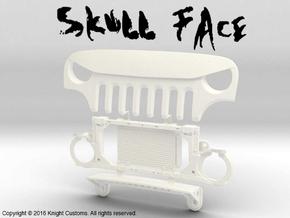 AJ30006 Skull Face Grill & Mount in White Processed Versatile Plastic