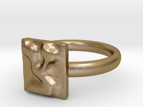 18 Tzadi Ring in Polished Gold Steel: 7 / 54
