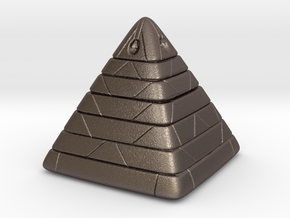 Pyramide Enlighted in Polished Bronzed Silver Steel
