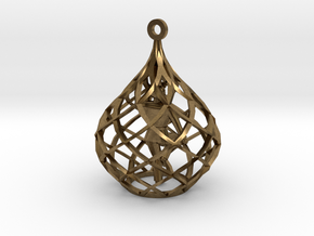 Ornament - Crane Stance With Diamond Block in Natural Bronze