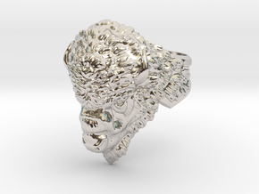 Bison Head Ring in Rhodium Plated Brass: 11.5 / 65.25
