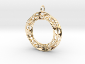 Moebius Band Ø30mm Pendant improved Version in 14K Yellow Gold