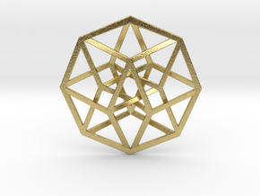 """Tesseract Pendant 1"""" in Natural Brass"""