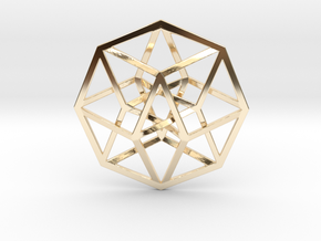 "Tesseract extra small Pendant 1"" in 14K Yellow Gold"