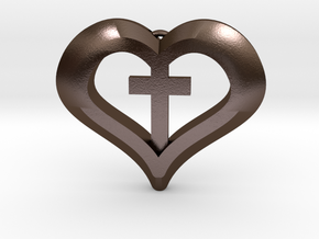 heart cross in Polished Bronze Steel