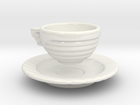 Excelsior Tea Cup and Saucer in Gloss White Porcelain