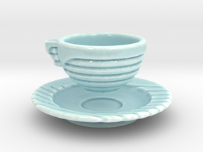 Excelsior Tea Cup and Saucer in Gloss Celadon Green Porcelain