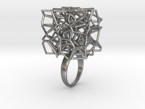 Voronoi Cube Ring (size 5) in Natural Silver