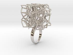 Voronoi Cube Ring (size 5) in Platinum