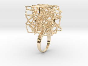 Voronoi Cube Ring (size 5) in 14k Gold Plated Brass