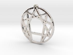 Enneagram Pendant Small (1 inch) in Platinum