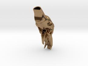 Bear Skull whistle. 7cm in Natural Brass: Medium