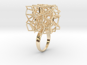 Voronoi Cube Ring (Size 7) in 14K Yellow Gold