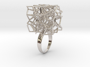 Voronoi Cube Ring (Size 7) in Rhodium Plated Brass