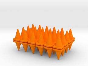 48 Traffic Cones, Small, 1/64 in Orange Processed Versatile Plastic