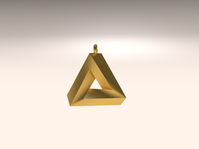 Penrose Triangle - Pendant (3cm | 2.5mm O-Ring) in Matte Gold Steel