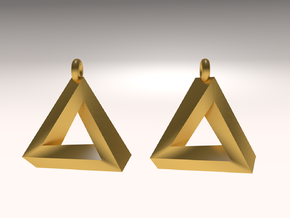 Penrose Triangle - Earrings (17mm | 2x mirrored) in Matte Gold Steel