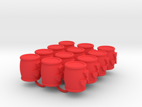 Power Grid Uranium Barrels - Set of 12 in Red Strong & Flexible Polished
