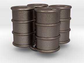 Power Grid Oil Barrels - Set of 4 in Polished Bronzed Silver Steel