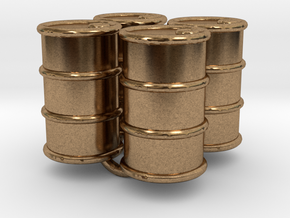 Power Grid Oil Barrels - Set of 4 in Natural Brass