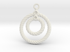 Corrugated Earring in White Natural Versatile Plastic